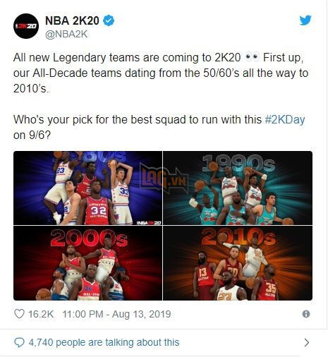 NBA 2k20 ra mắt bộ hình huyền thoại , chuẩn bị cho một mùa giải mới
