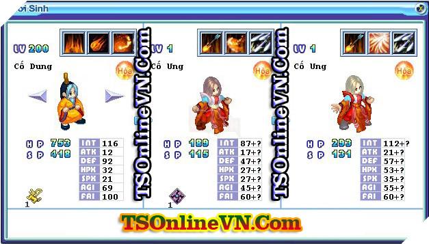 TS Online Mobile: Tổng hợp tất cả Pet Hỏa chuyển sinh 1 và 2 đầy đủ nhất 90