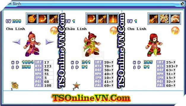 TS Online Mobile: Tổng hợp tất cả Pet Hỏa chuyển sinh 1 và 2 đầy đủ nhất 88