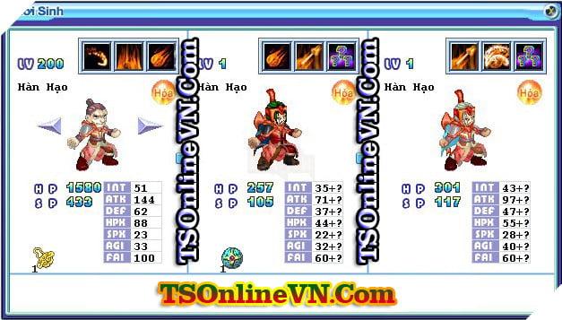 TS Online Mobile: Tổng hợp tất cả Pet Hỏa chuyển sinh 1 và 2 đầy đủ nhất 68