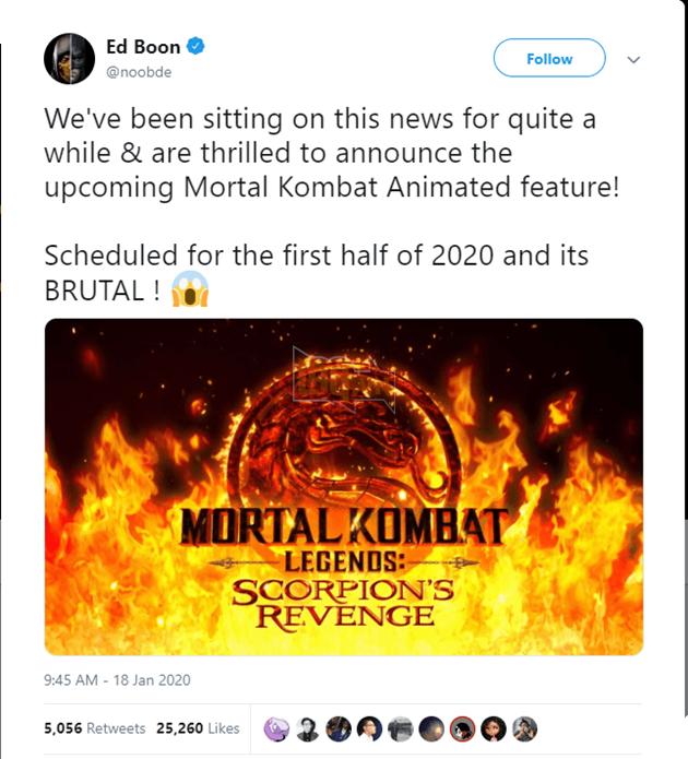 Phim hoạt hình Mortal Kombat sẽ được ra mắt đầu năm 2020