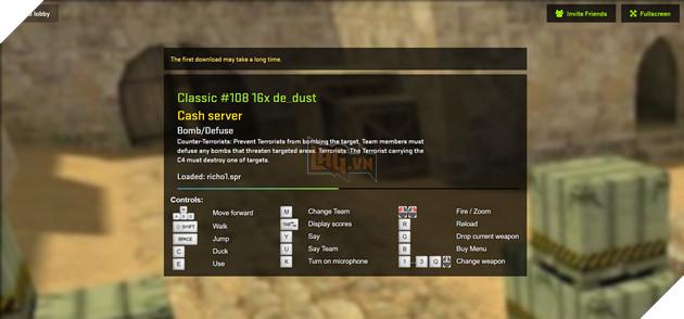 Hướng dẫn cách chơi Counter-Strike 1.6 cực dễ dàng ngay trên trình duyệt web 4