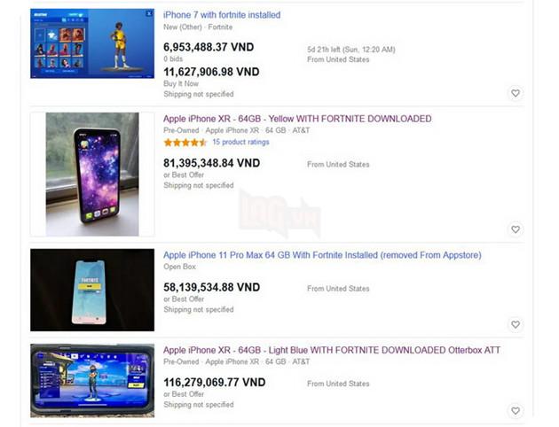 Xuất hiện hàng loạt điện thoại iPhone có sẵn Fortnite với giá hơn trăm triệu đồng trên eBay 2