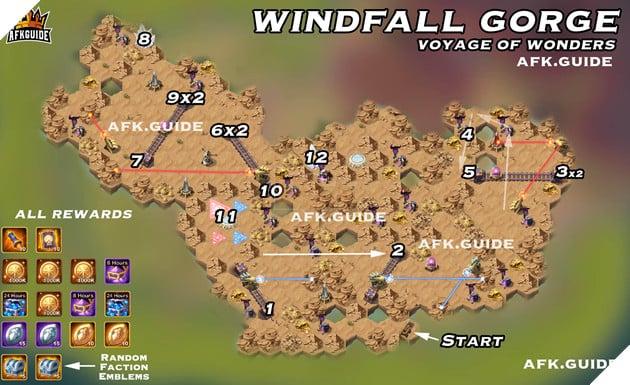 windfall gorge map voyage of wonders afk arena