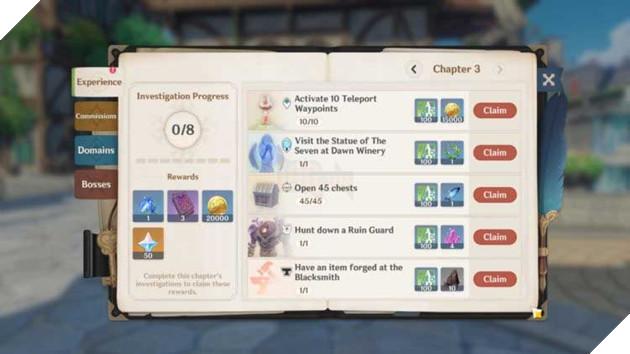Tổng hợp những hoạt động giúp cho tân thủ của Genshin Impact có thể nhận quà hoàn toàn miễn phí 5
