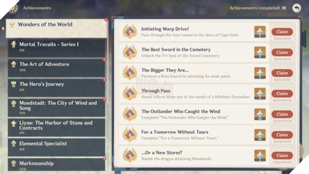 Tổng hợp những hoạt động giúp cho tân thủ của Genshin Impact có thể nhận quà hoàn toàn miễn phí 6