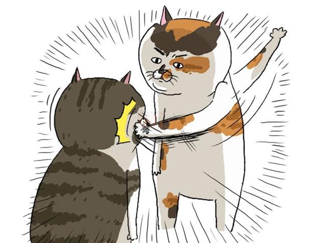 Tranh vẽ mèo trừng mắt tát bạn