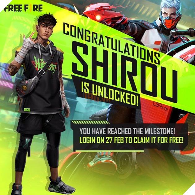Đừng quên đăng nhập Free Fire vào ngày mai 27/2 để nhận nhân vật Shirou FREE 2