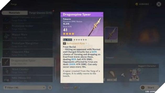 Genshin Impact: Cách lấy Dragontooth Vitalized và công thức chế tạo Thương rồng 3