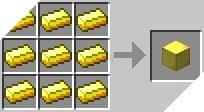 Cách chế tạo ra khối vàng trong minecraft