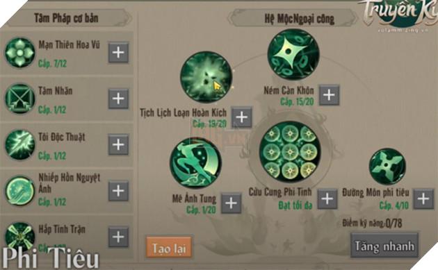 Võ Lâm Truyền Kỳ 1 Mobile: Hướng dẫn cách tăng điểm kĩ năng phái Đường Môn 3