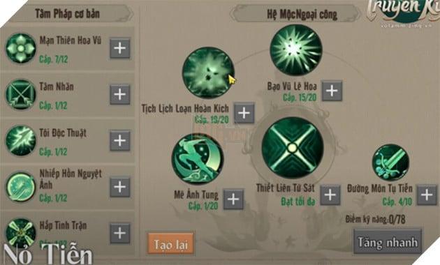Võ Lâm Truyền Kỳ 1 Mobile: Hướng dẫn cách tăng điểm kĩ năng phái Đường Môn 2