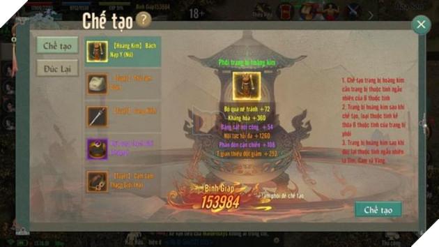Hướng dẫn cách tìm và nâng cấp đồ Hoàng Kim trong VLTK 1 Mobile 6