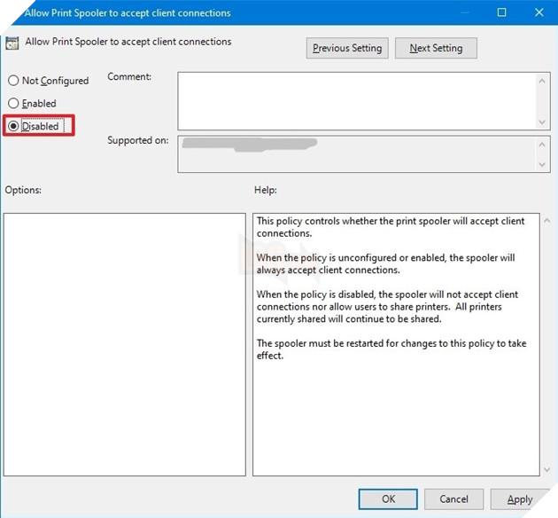 Cách khắc phục lỗ hổng PrintNightmare Print Spooler trên máy tính Windows 10 8