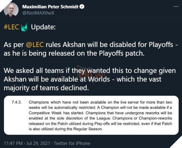 LMHT: Riot Games quyết định loại bỏ Akshan ra khỏi danh sách tướng được sử dụng tại CKTG 2021
